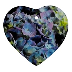 Blue And Purple Hydrangea Group Heart Ornament (two Sides) by bloomingvinedesign