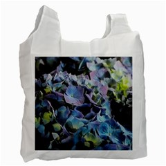 Blue And Purple Hydrangea Group White Reusable Bag (one Side) by bloomingvinedesign