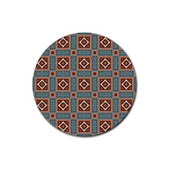 Squares Rectangles And Other Shapes Pattern Rubber Coaster (round) by LalyLauraFLM