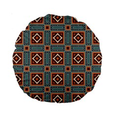 Squares Rectangles And Other Shapes Pattern 15  Premium Round Cushion  by LalyLauraFLM