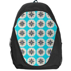 Floral Pattern On A Blue Background Backpack Bag by LalyLauraFLM