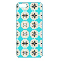 Floral Pattern On A Blue Background Apple Seamless Iphone 5 Case (color) by LalyLauraFLM