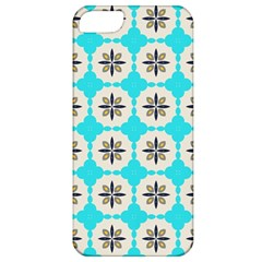 Floral Pattern On A Blue Background Apple Iphone 5 Classic Hardshell Case by LalyLauraFLM