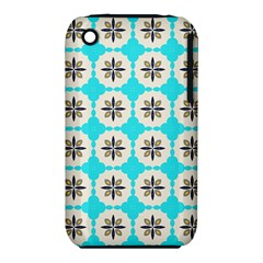 Floral Pattern On A Blue Background Apple Iphone 3g/3gs Hardshell Case (pc+silicone) by LalyLauraFLM