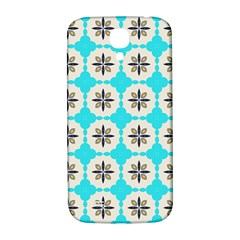 Floral Pattern On A Blue Background Samsung Galaxy S4 I9500/i9505  Hardshell Back Case by LalyLauraFLM