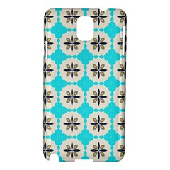 Floral Pattern On A Blue Background Samsung Galaxy Note 3 N9005 Hardshell Case by LalyLauraFLM