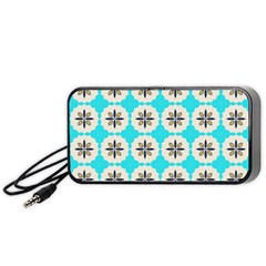 Floral Pattern On A Blue Background Portable Speaker (black) by LalyLauraFLM