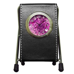Amethyst Stone Of Healing Stationery Holder Clock by FunWithFibro