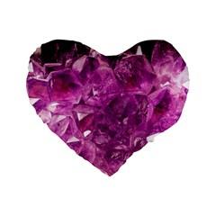 Amethyst Stone Of Healing 16  Premium Flano Heart Shape Cushion  by FunWithFibro