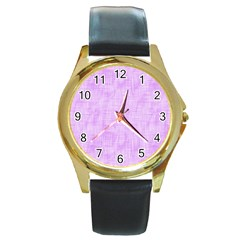 Hidden Pain In Purple Round Leather Watch (gold Rim)  by FunWithFibro