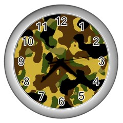 Camo Pattern  Wall Clock (silver) by Colorfulart23