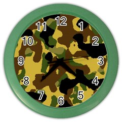 Camo Pattern  Wall Clock (color) by Colorfulart23