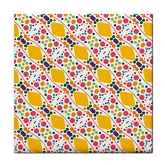 Dots And Rhombus Tile Coaster by LalyLauraFLM