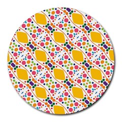 Dots And Rhombus Round Mousepad by LalyLauraFLM