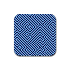 Blue Maze Rubber Square Coaster (4 Pack) by LalyLauraFLM