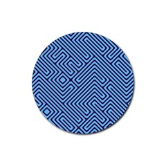 Blue Maze Rubber Coaster (round) by LalyLauraFLM