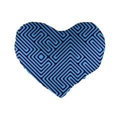 Blue Maze 16  Premium Heart Shape Cushion  by LalyLauraFLM