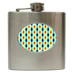 Yellow Chains Pattern Hip Flask (6 Oz) by LalyLauraFLM