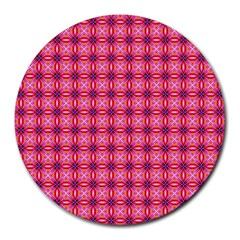 Abstract Pink Floral Tile Pattern 8  Mouse Pad (round) by creativemom