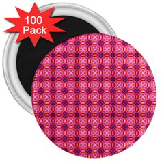 Abstract Pink Floral Tile Pattern 3  Button Magnet (100 Pack) by creativemom