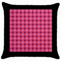 Abstract Pink Floral Tile Pattern Black Throw Pillow Case by creativemom