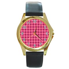Abstract Pink Floral Tile Pattern Round Leather Watch (gold Rim)  by creativemom