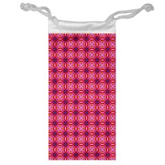 Abstract Pink Floral Tile Pattern Jewelry Bag