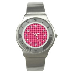 Abstract Pink Floral Tile Pattern Stainless Steel Watch (slim) by creativemom
