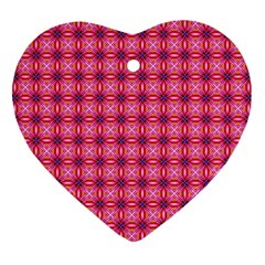 Abstract Pink Floral Tile Pattern Heart Ornament (two Sides) by creativemom