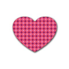 Abstract Pink Floral Tile Pattern Drink Coasters 4 Pack (heart)  by creativemom