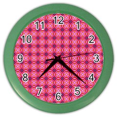 Abstract Pink Floral Tile Pattern Wall Clock (color) by creativemom