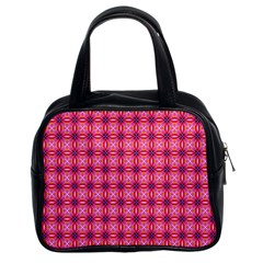 Abstract Pink Floral Tile Pattern Classic Handbag (two Sides) by creativemom