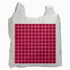 Abstract Pink Floral Tile Pattern White Reusable Bag (one Side) by creativemom
