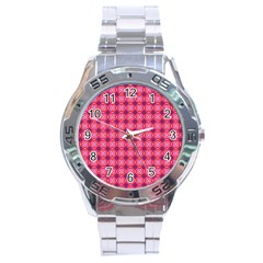 Abstract Pink Floral Tile Pattern Stainless Steel Watch by creativemom