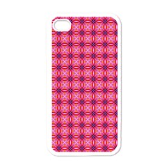 Abstract Pink Floral Tile Pattern Apple Iphone 4 Case (white) by creativemom