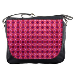 Abstract Pink Floral Tile Pattern Messenger Bag by creativemom