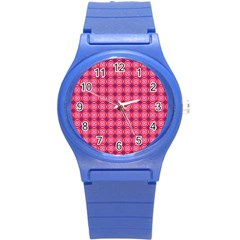 Abstract Pink Floral Tile Pattern Plastic Sport Watch (small) by creativemom