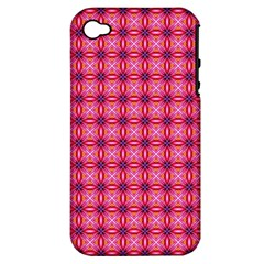 Abstract Pink Floral Tile Pattern Apple Iphone 4/4s Hardshell Case (pc+silicone) by creativemom