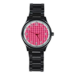 Abstract Pink Floral Tile Pattern Sport Metal Watch (black) by creativemom