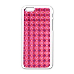 Abstract Pink Floral Tile Pattern Apple Iphone 6 White Enamel Case by creativemom