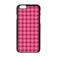 Abstract Pink Floral Tile Pattern Apple Iphone 6 Black Enamel Case by creativemom