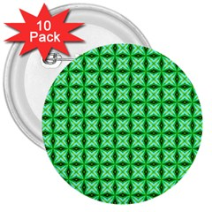 Green Abstract Tile Pattern 3  Button (10 Pack) by creativemom