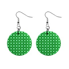 Green Abstract Tile Pattern Mini Button Earrings by creativemom