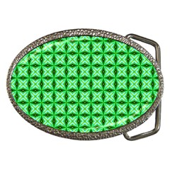 Green Abstract Tile Pattern Belt Buckle (oval) by creativemom