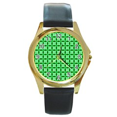 Green Abstract Tile Pattern Round Leather Watch (gold Rim)  by creativemom