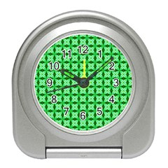 Green Abstract Tile Pattern Desk Alarm Clock by creativemom
