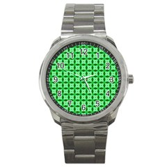 Green Abstract Tile Pattern Sport Metal Watch by creativemom