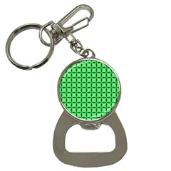 Green Abstract Tile Pattern Bottle Opener Key Chain by creativemom