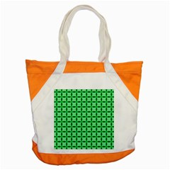 Green Abstract Tile Pattern Accent Tote Bag by creativemom