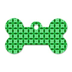 Green Abstract Tile Pattern Dog Tag Bone (two Sided) by creativemom